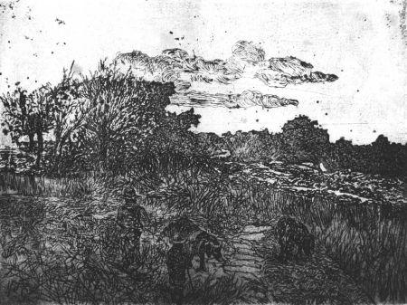 エッチング Fattori - Paese al tramonto (con guardiani di porci)