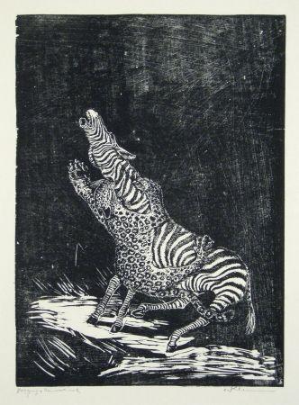 木版 Klemm - Panther und Zebra