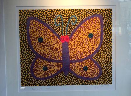 シルクスクリーン Kusama - Papillon1