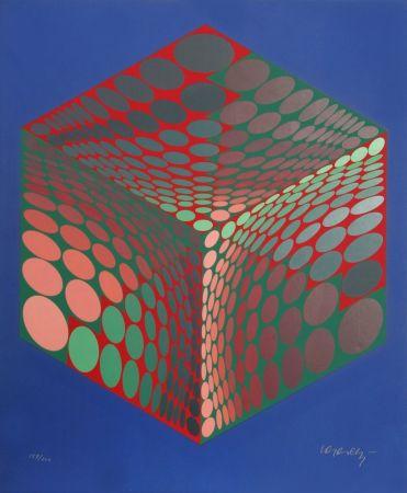 シルクスクリーン Vasarely - Parmenide (Red, Green, & Blue)