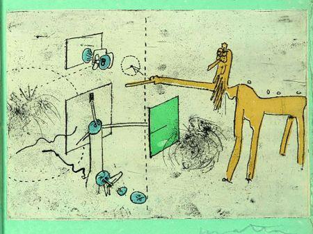 エッチングと アクチアント Matta - PAROLES PEINTES (1959) 10 gravures originales de Max Ernst, Jacques Hérold, Wifredo Lam, Sébastian Matta et DorotheaTanning. Poèmes d'Alain Bosquet.