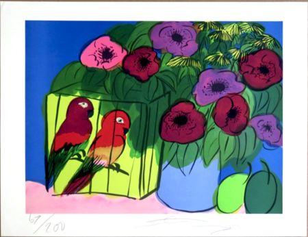 シルクスクリーン Ting - Parrots