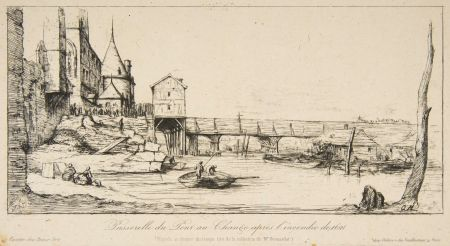 彫版 Meryon - Passerelle du Pont-au-Change, Paris, après l'incendie de 1621