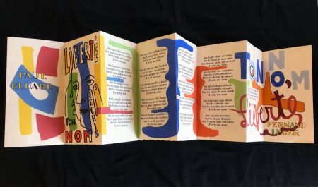 ステンシル Leger - Paul Éluard : Liberté J'écris Ton Nom (1ère édition au pochoir 1953).