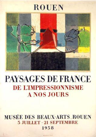 リトグラフ Villon -  Paysage de France  Rouen