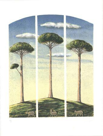 リトグラフ Lazzeri - Pecore al albero