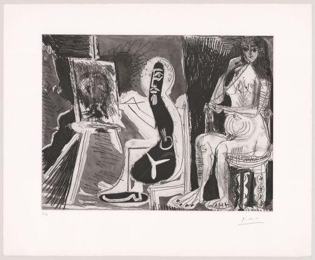 エッチングと アクチアント Picasso - Peintre avec le portrait d'un jeune garçon, dans son atelier.