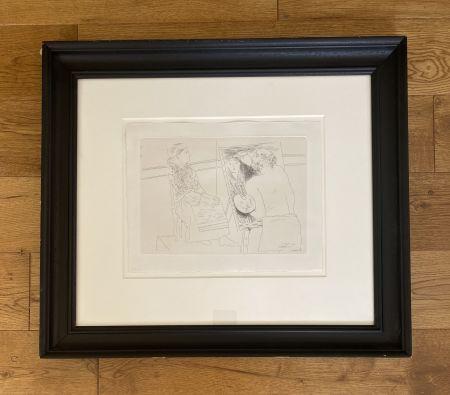 彫版 Picasso - Peintre Chauve devant son Chevalet