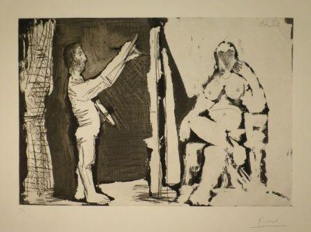 エッチングと アクチアント Picasso - Peintre debout et modèle
