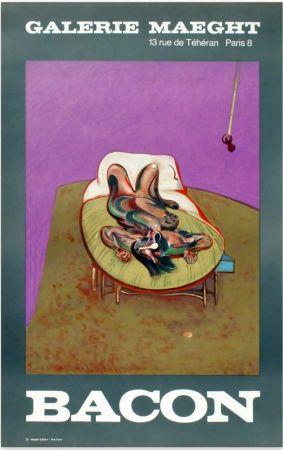 リトグラフ Bacon - PERSONNAGE COUCHÉ. Affiche en lithographie (1966).