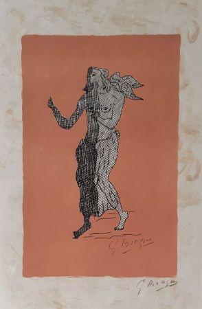 リトグラフ Braque - Personnage sur fond rose