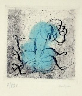 エッチングと アクチアント Fautrier - Petit Paysage Vert Et Violet