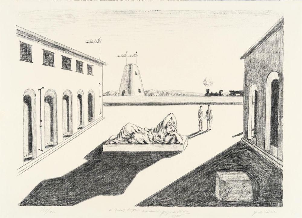リトグラフ De Chirico - Piazza d'Italia
