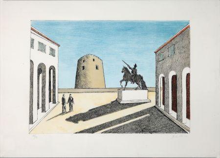 リトグラフ De Chirico - Piazza d'Italia con statua equestre