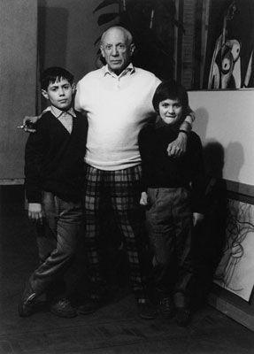 写真 Clergue - Picasso Avec Claude Et Paloma
