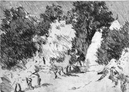 エッチング Castellani - Piccolo paesaggio a Reforzate