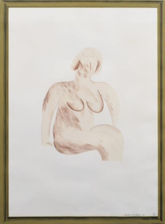 リトグラフ Hockney -  Picture of a Simple Framed Traditional Nude Drawing