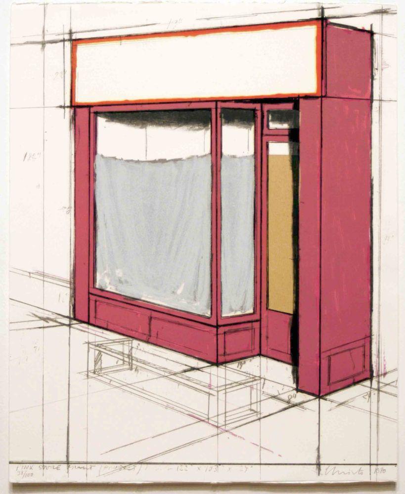 リトグラフ Christo - Pink Store Front, Project from Marginalia
