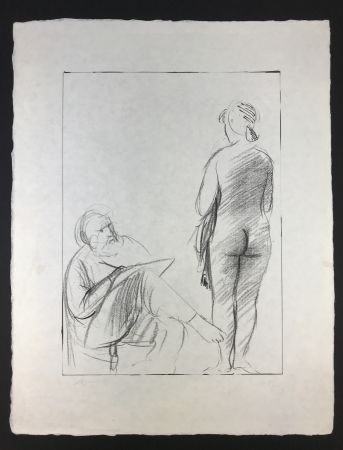 リトグラフ Manzu - Pittore e Modella