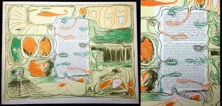 リトグラフ Alechinsky - Placard pour Claude Simon (1974).