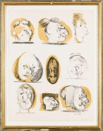 リトグラフ Sutherland - Planches D'etudes ( tetes )