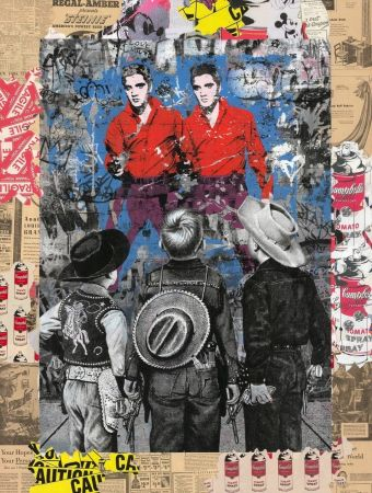 シルクスクリーン Mr Brainwash - Playing Cowboy