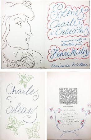 挿絵入り本 Matisse - POÈMES DE CHARLES D'ORLÉANS manuscrits et illustrés par Henri Matisse (1950). Dédicace avec dessin original aux pastels de couleur.