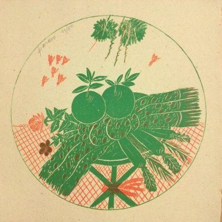 リトグラフ Fassianos - Pommes et foulard