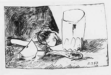 リトグラフ Picasso - Pommes, Verre Et Couteau
