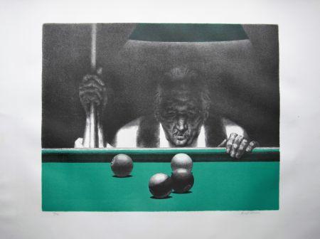 リトグラフ Hirsch - Pool player
