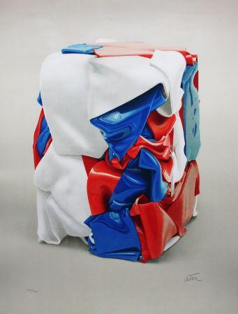 リトグラフ Cesar - Portrait de compression bleu-blanc-rouge