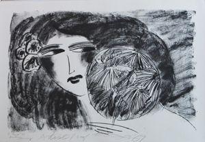 リトグラフ Ting - Portrait de Femme