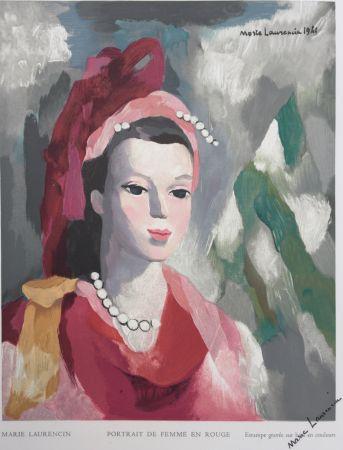 木版 Laurencin - Portrait de Femme en rouge