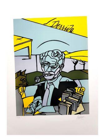 リトグラフ Adami - Portrait de Jacques Derrida