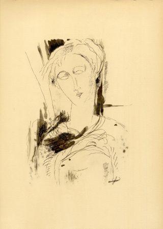Collograph Modigliani - PORTRAIT DE JEUNE FEMME (1918/20) de l'album : Douze Contemporains par J. Lassaigne (1959)