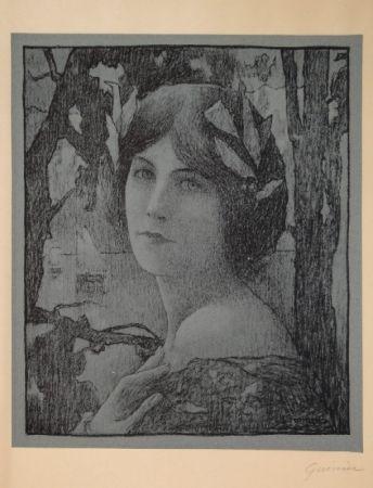 リトグラフ Guinier - (Portrait d'une jeune femme)