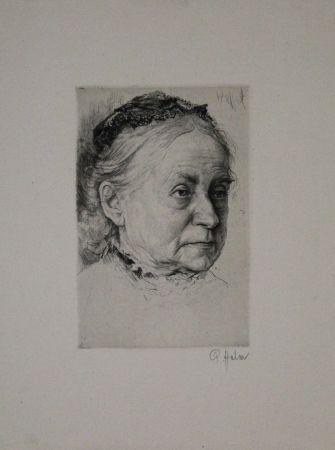 彫版 Halm - Portrait einer alten Dame