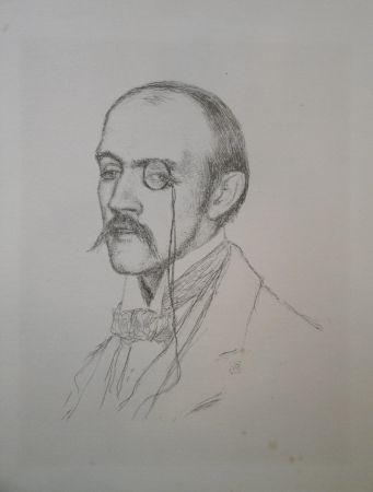 """リトグラフ Rysselberghe - Portrait """"Henri de Regnier"""""""