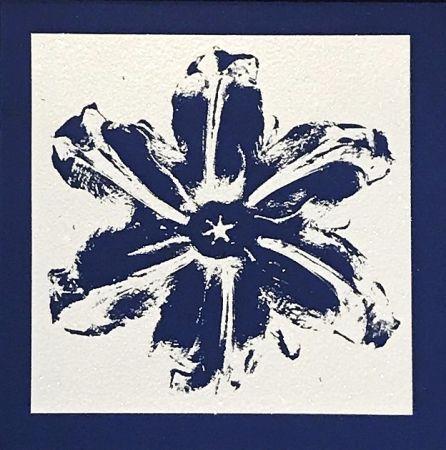 シルクスクリーン Robierb - Power Flower (Blue)