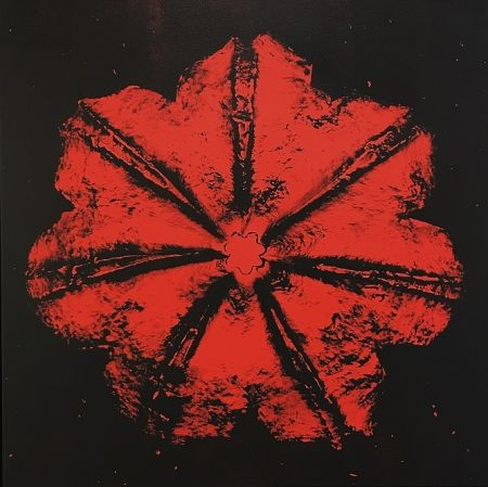 シルクスクリーン Robierb - Power Flower N-1 (Red on Black)