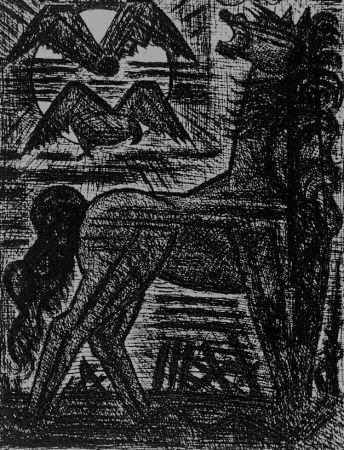 エッチング Gromaire - Présage, cheval noir, et oiseaux de nuit