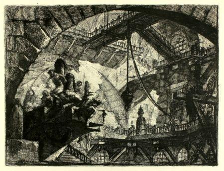 彫版 Piranesi - Prisoners on a projecting Platform (Carceri X)
