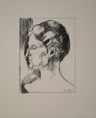 リトグラフ Hodler - Profilbildnis von Frau Hodler.