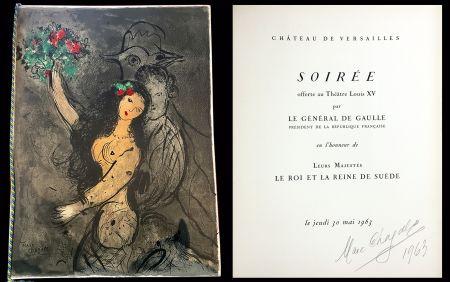 リトグラフ Chagall - Programme Soirée Château de Versailles le jeudi 30 mai 1963.