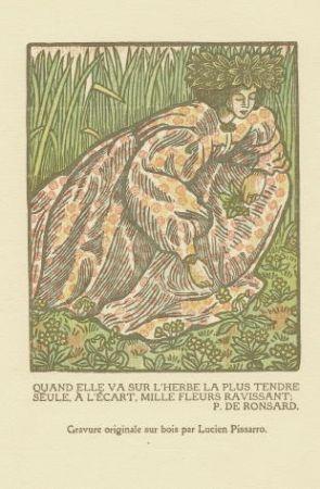 木版 Pissarro - Quand elle va sur l'herbe... / Girl Picking Flowers