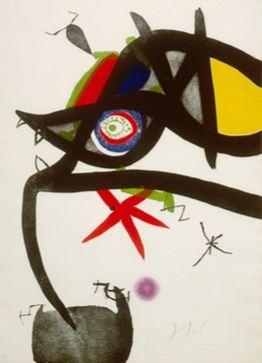 エッチングと アクチアント Miró - Quatre Colors Aparien El Món, Plate Iv