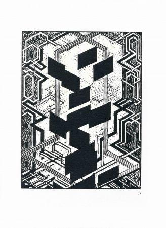 木版 Kupka - Quatre histoires de blanc et de noir.
