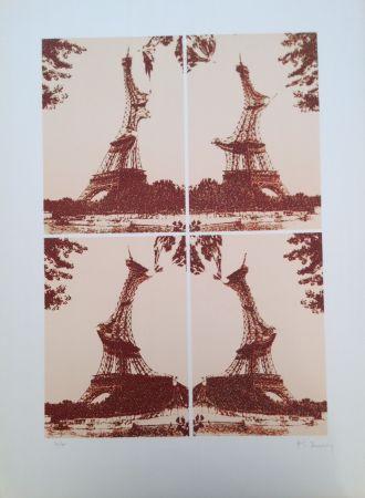 リトグラフ Bury - Quatre tours Eiffel juxtaposées