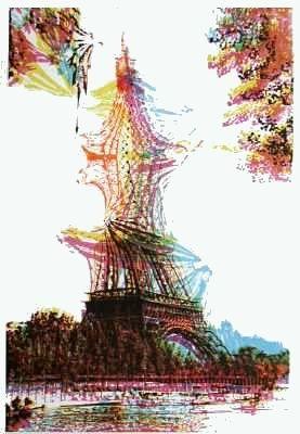 リトグラフ Bury - Quatre tours Eiffel superposées