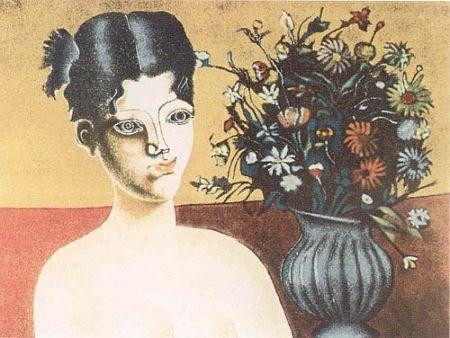リトグラフ Gentilini - Ragazza con vaso di fiori